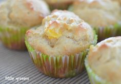 Pineapple and Mango Muffins made with yogurt - can substitute different fruits