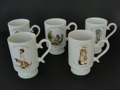 5 Vintage Holly Hobbie Porcelain Coffee Chocolate Mugs 1974 by marketsquareus on Etsy
