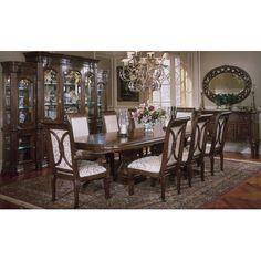 AICO Villagio 9 Piece Double Pedestal Rectangular Table Dining Set in Hazelnut