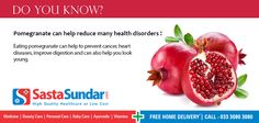 Pomegranate can help reduce many health disorders  Eating pomegranate can help to prevent cancer, heart diseases, improve digestion and can also help you look young.
