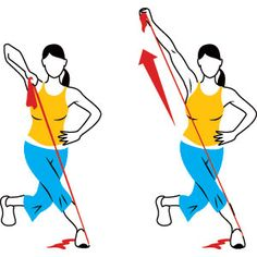 Hold one end of the band in your right hand, the other under your right foot. Cross your left leg behind you and drop into a curtsy lunge. Lift your right elbow diagonally, fist in front of your shoulder. Without moving your upper arm, raise your fist. Pause, then slowly lower to start. Thats one rep. Do 10 to 12.