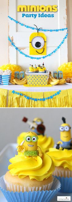 Cute Minions Party Ideas! Fun DIY ideas for a Minions Party or Despicable Me Minion Themed Birthday Party. LivingLocurto.com #minionsparty