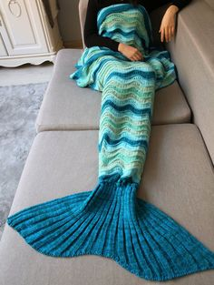 Wave Striped Crochet Knit Mermaid Blanket Throw - COLORMIX