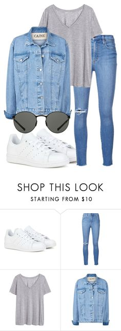 """""""Untitled #1811"""" by mariandradde ❤ liked on Polyvore featuring adidas, Nobody Denim, H&M and Mykita"""