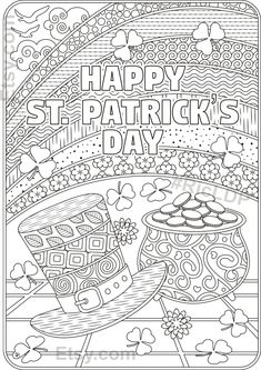 St Patricks Day Coloring Pages Flowers and Clover Leaves Bible Verse Coloring Page, Cute Coloring Pages, Adult Coloring Pages, Coloring Books, Coloring Stuff, Free Coloring Sheets, San Patrick, Happy St Patrick, Cute Heart Drawings