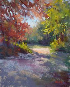 Autumn Path Fall Foiiage 8x10 Original Pastel by Karen Margulis