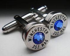357 Magnum Winchester Nickel Bullet Head Grooms Cufflinks Set