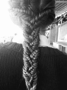 Actually figured out how to do this braid within a braid! Do two french fishtail braids from either side of the head, and one down the middle. Braid (a regular braid) all three fishtails together!