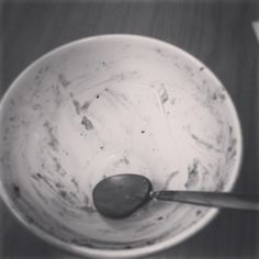 The remains of my breakfast today!  It was porridge! AGAIN!  I really need to eat something else some days! #breakfastwatch - @shonasparkles- #webstagram