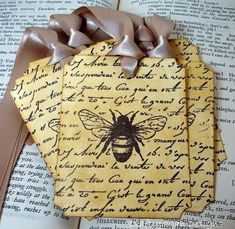 Shabby Chic Vintage Bee Tags/Labels-SET of 6-by Craftypagan Designs-As Featured On The Front Page of Etsy via Etsy