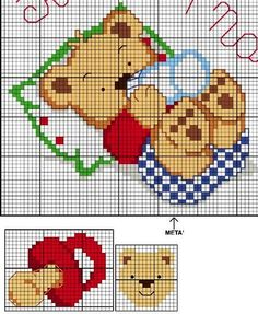 55 Cross Stitch Charts for Babies – Ponto Cruz – Beautiful Graphics - Stickerei Ideen Baby Cross Stitch Patterns, Cross Stitch For Kids, Cross Stitch Baby, Cross Stitch Charts, Cross Stitch Designs, Embroidery Art, Cross Stitch Embroidery, Embroidery Patterns, Baby Motiv