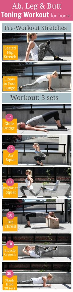 Best Workout Plans : 6 Ab and Butt Toning Exercises for Women to Get Toned at Home Pre Workout Stretches, Toning Workouts, At Home Workouts, Workout Routines, Hip Stretches, Workout Plans, Workout Schedule, Sport Fitness, Fitness Tips