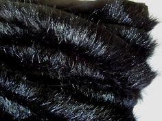 1 Wide Black Faux Fur Novelty Trim 1/4  1/2 Pile by FabricBistro
