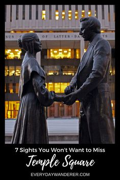 A statue of Joseph Smith and his wife, Emma, in Salt Lake City's Temple Square #templesquare #saltlake #saltlakecity #utah #visitslc #TravelDestinationsUsa50States