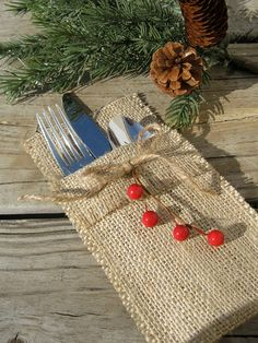 Items similar to Burlap Silverware Holders with Red Berry Sprig - Set of Rustic holiday table decor on Etsy Christmas Wedding, Christmas Time, Christmas Crafts, Christmas Decorations, Xmas, Burlap Crafts, Diy And Crafts, Burlap Silverware Holder, Christmas Table Settings