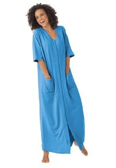 Dreams And Company Plus Size Long Robe In French Terry With Zip Front DREAMS. $26.99