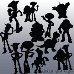toy story silhouette printouts black | 12 Toy Story Silhouette Clipart Images, Clipart Design Elements ...
