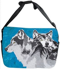 Wolf Canvas Safari Style Messenger Bag  by by SalvadorKitti, $45.00