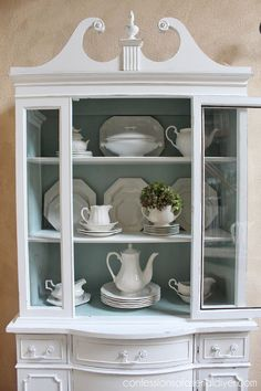 painted furniture china cabinet shabby chic, home decor, painted furniture