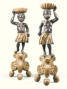 A PAIR OF ITALIAN PAINTED 'BLACKAMOOR' TORCHÈRES 18TH CENTURY