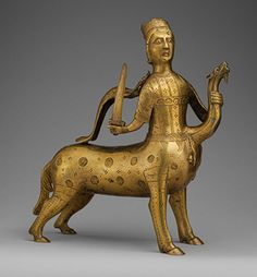 .Aquamanile in the Form of a Crowned Centaur Fighting a Dragon, early 13th century  German (Lower Saxony)  Copper alloy