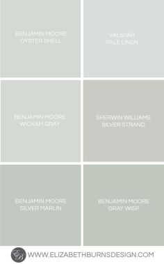 Like Valspar Pale Linen and Sherwin Williams Silver Strand. Also shows Benjamin Moore Oyster Shell, Wickam Gray, Silver Marlin, Gray Wisp Blue Green Paints, Green Paint Colors, Interior Paint Colors, Paint Colors For Home, Room Colors, House Colors, Wall Colors For Bedroom, Spa Paint Colors, Nursery Paint Colors