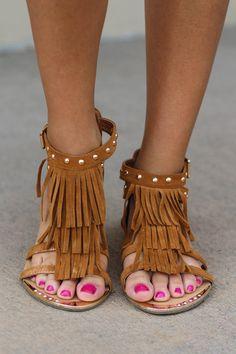 Walking On Diamond Studded Fringe Sandals (Tan)