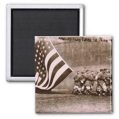 """Flag Raising Ceremony 1914 Ebbets Field Magnets - 2"""" x 2"""" – Standard Size. Printed on 100% Recycled Paper. Covered with scratch- and UV-resistant Mylar. No minimum order. Both round and square magnets available."""