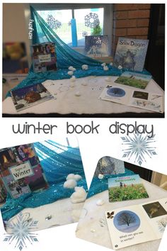 """Chill with a book"" Winter book display on our 'Seasons' table."