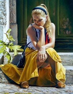 Kelley, Paul (b,1955)- Woman Sitting on Steps Looking at Ground