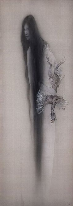 Fuyuko Matsui (Note: Japanese ghosts do not have feet.) Pinning this as it's so beautiful and spooky too. Japanese Yokai, Japanese Horror, Japanese Mythology, Japan Painting, Korean Art, Jewish Art, Weird Creatures, Fine Art Photo, Japanese Prints