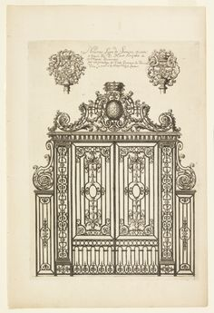 Tombstone: Print, ca. Cooper-Hewitt, National Design Museum ( I could see pieces some of these or triplicating them and copying them onto one paper for a larger unit or using for side scenes) Classic Architecture, Architecture Drawings, Architecture Details, Architectural Prints, Architectural Elements, Iron Gate Design, Grades, Wrought Iron Gates, Iron Work