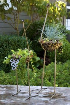 Small Recycled Metal Ostrich Planters – Trovati