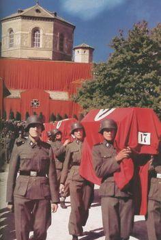 A ceremonial Waffen-SS funeral.