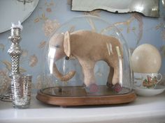 elephant from Northfield Primitives on etsy, under a glass dome