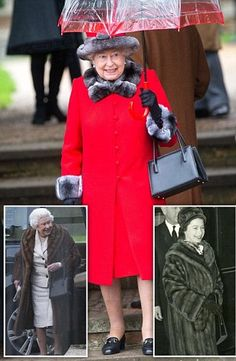 Queen has quick change between Christmas Day services from fur coat to red outfit