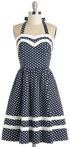 East Concept Fashion Ltd Georgia Gallivanting Dress in Navy Dots