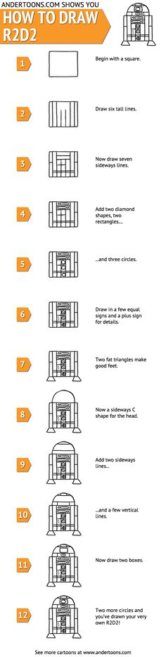 Easy ! How to draw #R2D2 !