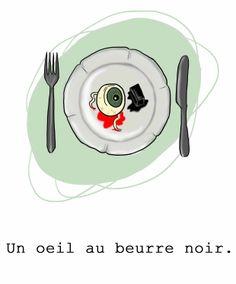 """avoir un oeil au beurre noir = avoir un cocard.Apparue dans sa formulation actuelle au XIXe siècle, l'expression était auparavant """"avoir un œil poché au beurre noir"""". On qualifiait de """"beurre noir"""" le beurre qui avait blondi lors de la cuisson et qui par la même occasion colorait le blanc d'un œuf cuit sur le plat. L'œil serait donc comparé au jaune, et l'hématome au blanc."""
