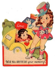 CAR-HOP-AT-FAST-FOOD-DRIVE-IN-BRINGS-OUT-TRAY-OF-FOOD-VINTAGE-VALENTINE-CARD