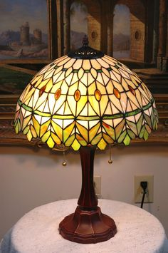 "16""W yellow/Green Jeweled Stained Glass Tiffany Style Table Desk Lamp, Zinc Base #ArtDeco"