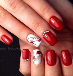 Red Nail Art Designs Cute Nail Art Ideas for a Red Manicure. Cute Spring Nails, Cute Nails, Pretty Nails, Fall Nails 2016, Winter Nails, Best Nail Art Designs, Nail Designs Spring, Bright Red Nails, Bright Yellow