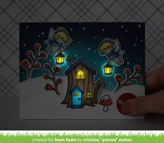 the Lawn Fawn blog: A Fun Collaboration with Chibitronics: Frosty Fairy Friends Light Up Card by Yainea.