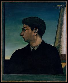 De Chirico painted this self-portrait while he lived in Paris from 1911 to 1915. He created there melancholy cityscapes that became exemplary for the Surrealist movement. His profile view recalls that of ancient Roman coins and medals