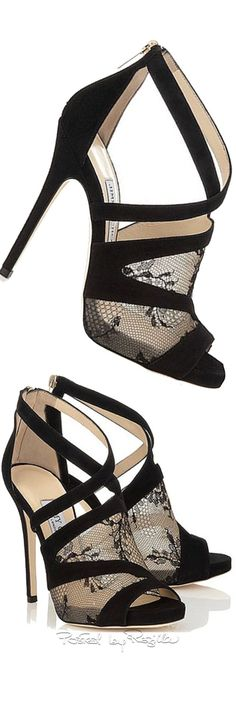 Jimmy Choo ~ Black Suede Nude Lace Cross Strap Sandals 2015