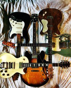 Fender 57 RI Strat  Tiesco Tele  Epiphone 335 JP  Gibson Les Paul w/Bigsby  1959 Danelectro DC