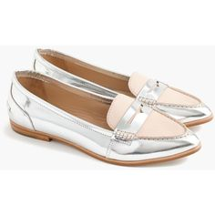 J.Crew Collins Mixed Metallic Leather Loafers (14.860 RUB) ❤ liked on Polyvore featuring shoes, loafers, leather lined shoes, genuine leather shoes, j crew loafers, leather loafer shoes and short heel shoes