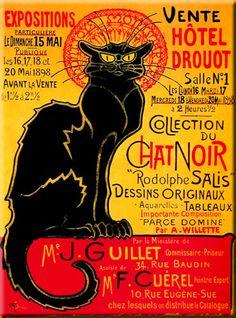 Large Retro French Hotel Drouot Chat Noir Black Cat Metal Sign/Plaque