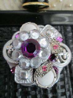 Ladies Handmade Artisan Button Pin Brooch Wedding Vintage Style Purple Silver | eBay