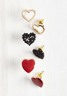 You'll come to treasure the occasion on which you first wore these darling heart-shaped earrings! This ModCloth-exclusive set features lacy black, enamel red, and glistening golden stud earrings, made to embody memorable moments spent with those you love.